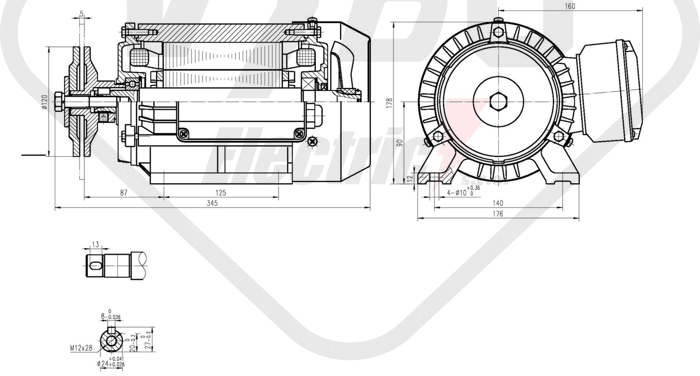 rozměrový výkres pilový elektromotor KRME 90L-2