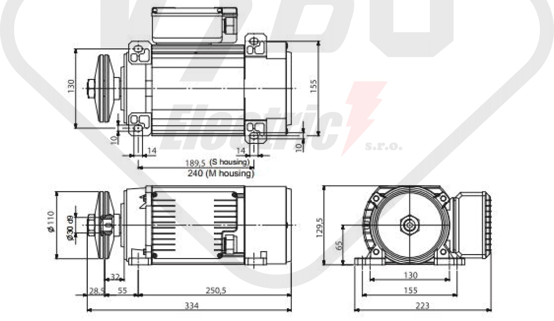 rozměrový výkres pílový elektromotor MR65 M1MA-2