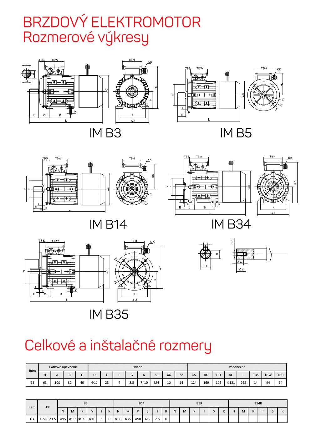 brzdové elektromotory rozměrový výkres 63