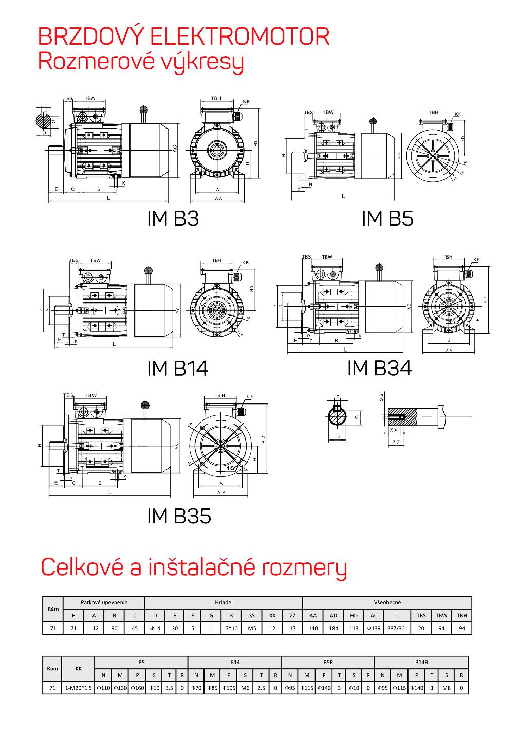 brzdové elektromotory rozměrový výkres 71