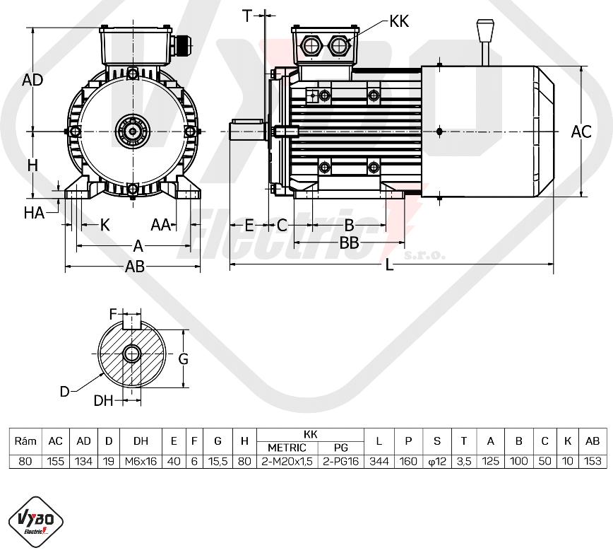 rozměrový výkres Elektromotor s brzdou 0,75kW 1ALBR801-2