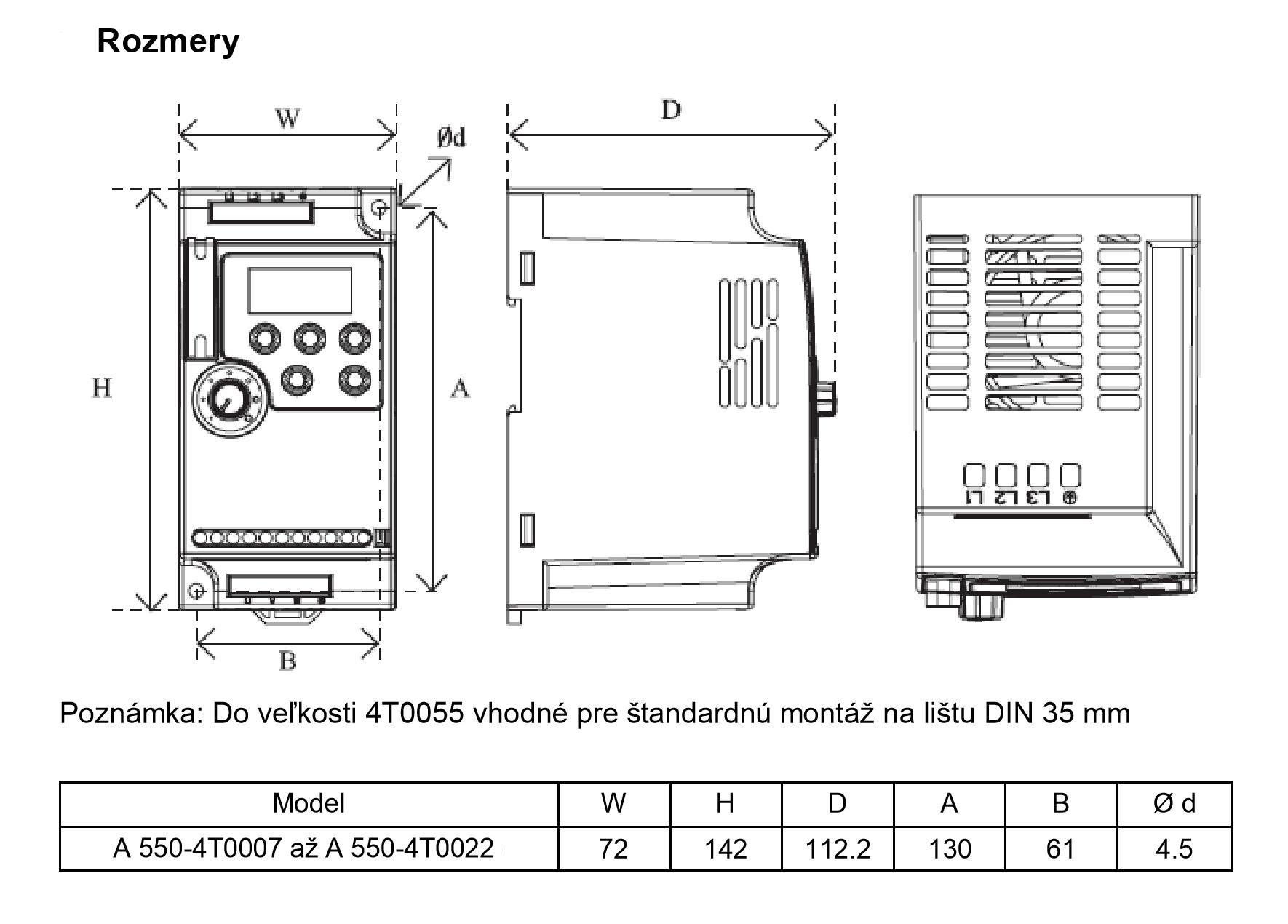 rozměrový výkres frekvenční měnič 2,2kw A550