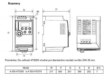 rozměrový výkres frekvenční měnič 30kw A550