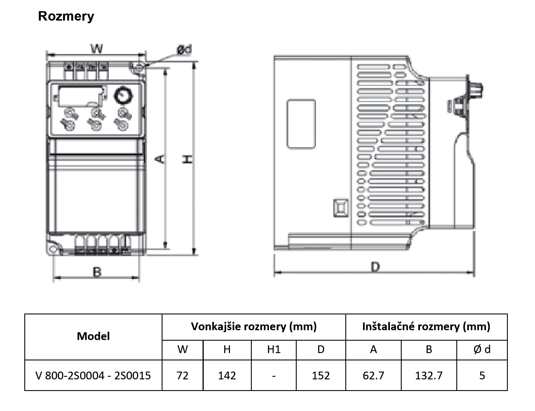 rozměrový výkres frekvenční měnič 0,4kw V800