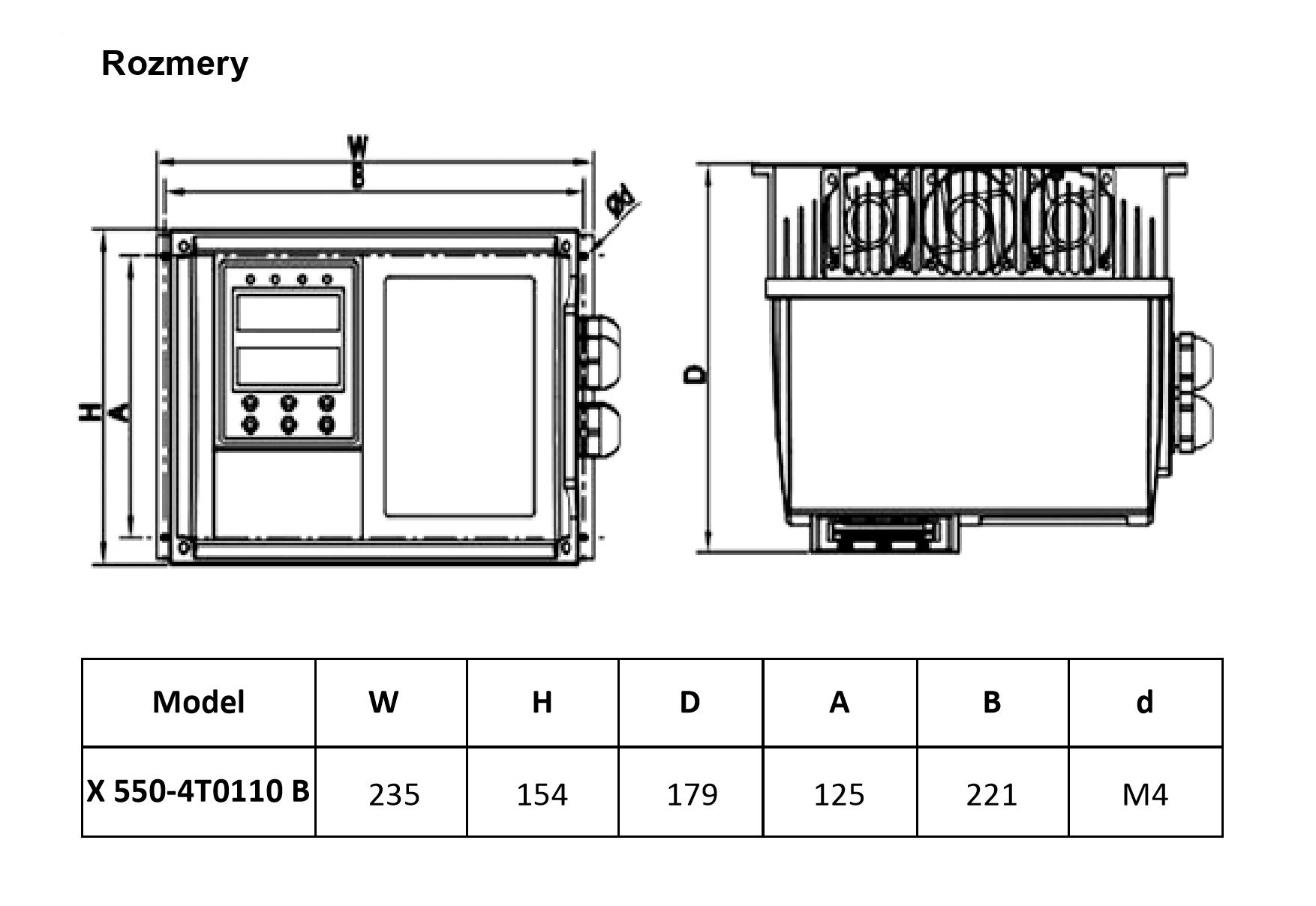 rozměrový výkres frekvenční měnič 11kw V800
