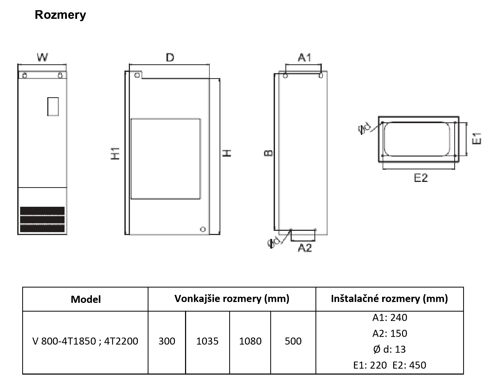 rozměrový výkres frekvenční měnič 220kw V800