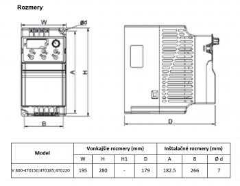 rozměrový výkres frekvenční měnič 22kw V800