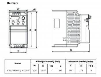 rozměrový výkres frekvenční měnič 3kw V800