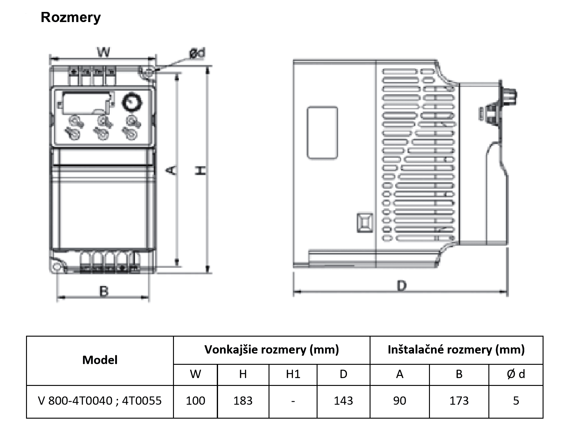 rozměrový výkres frekvenční měnič 5,5kw V800