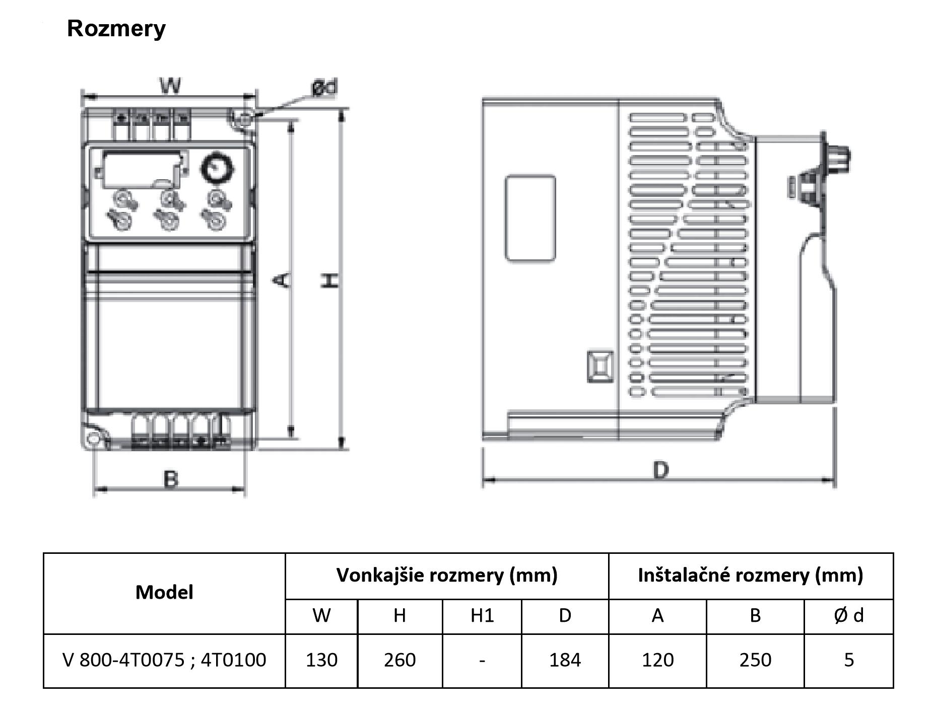 rozměrový výkres frekvenční měnič 7,5kw V800