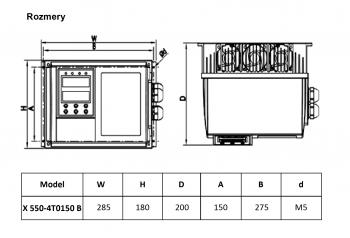 rozměrový výkres frekvenční měnič 15kw X550 IP65