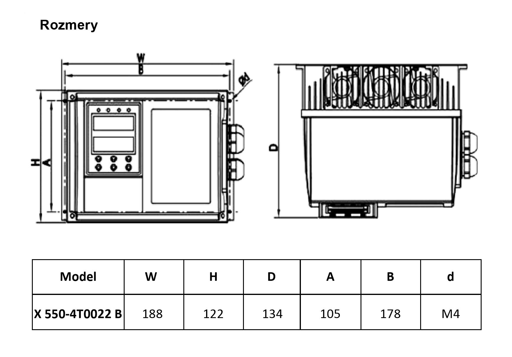 rozměrový výkres frekvenční měnič 2,2kw X550 IP65