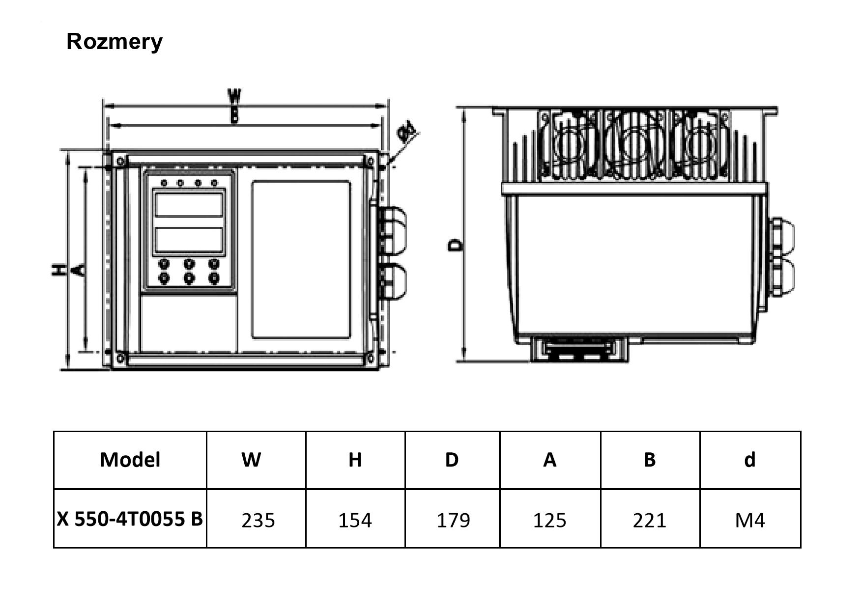 rozměrový výkres frekvenční měnič 5,5kw X550 IP65