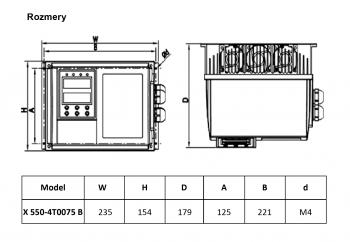 rozměrový výkres frekvenční měnič 7,5kw X550 IP65