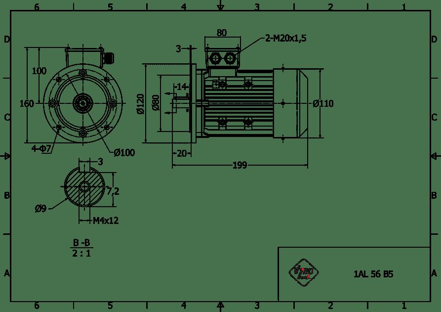 rozměrový výkres elektromotor 0,12kw 1AL56B-2