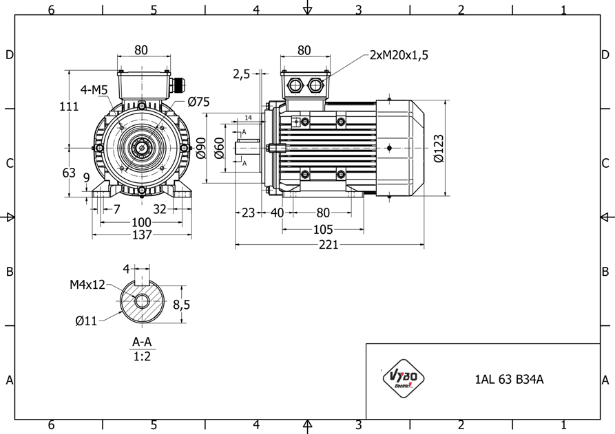 rozměrový výkres elektromotor 0,25kw 1AL63L-2