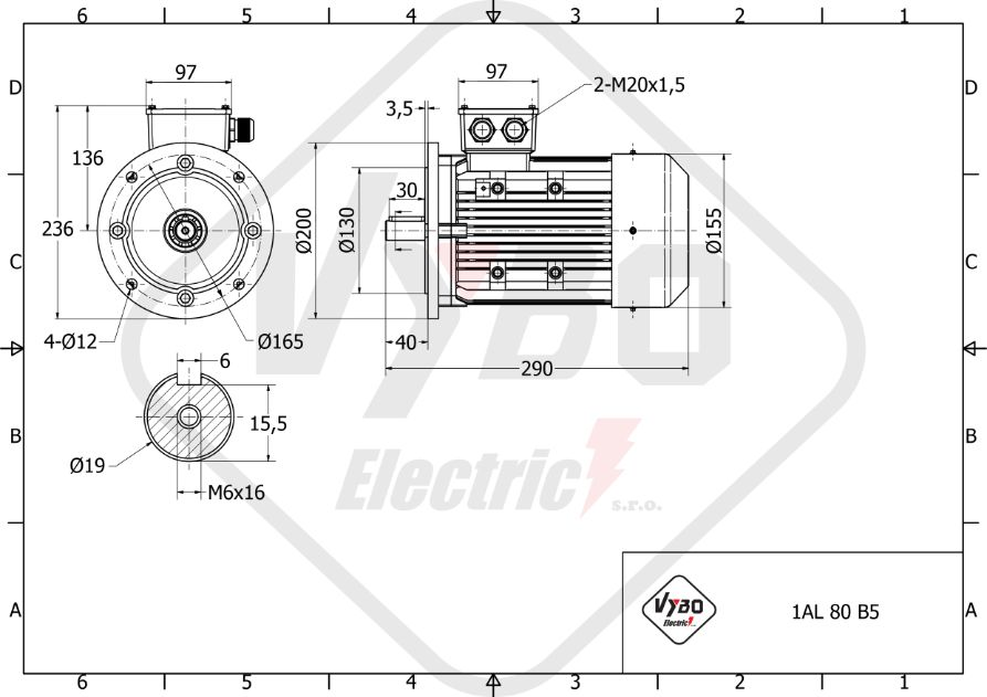 rozměrový výkres elektromotor 0,25kw 1AL80M-8