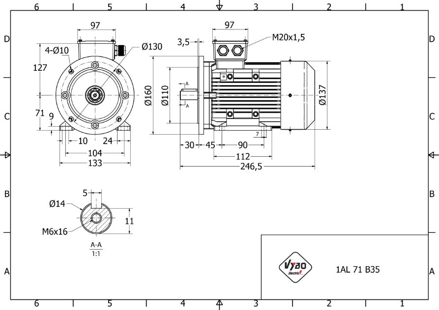 rozměrový výkres elektromotor 0,37kw 1AL71S-2