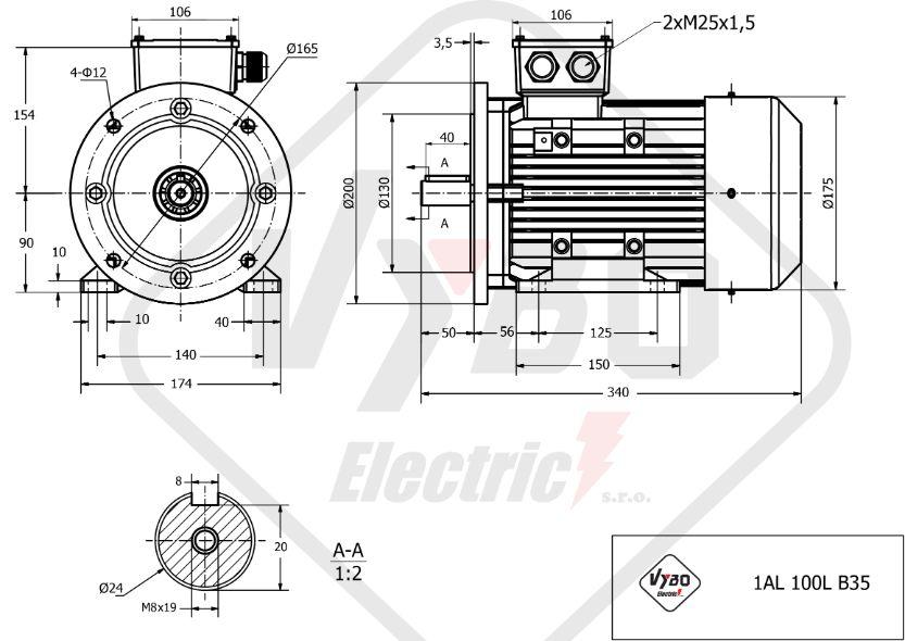 rozměrový výkres elektromotor 0,55kw 1AL90L-8