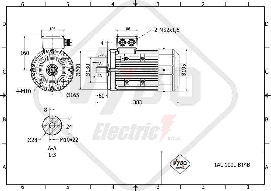 rozměrový výkres elektromotor 1,1kw 1AL100L2-8