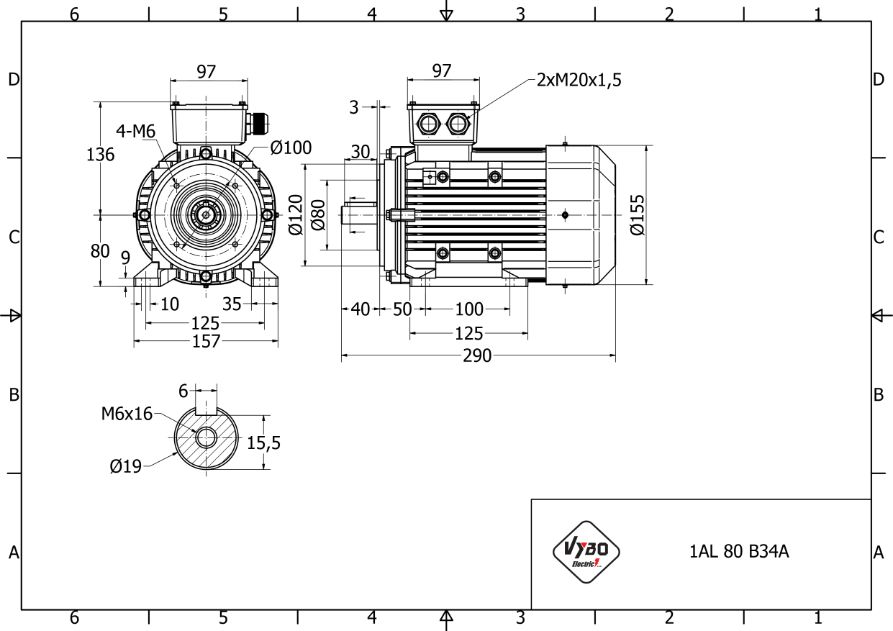 rozměrový výkres elektromotor 1,1kw 1AL80M-2
