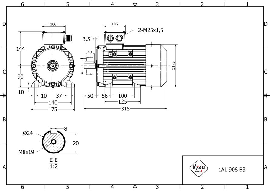 rozměrový výkres elektromotor 1,1kw 1AL90S-4