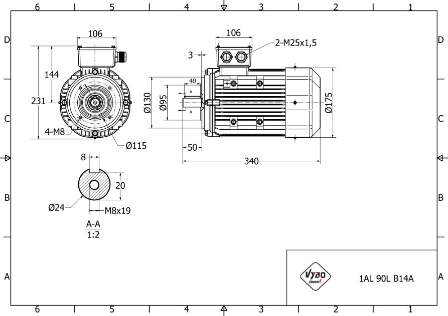 rozměrový výkres elektromotor 1,5kw 1AL90L-4