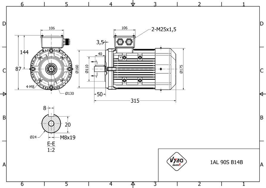 rozměrový výkres elektromotor 1,5kw 1AL90S-2