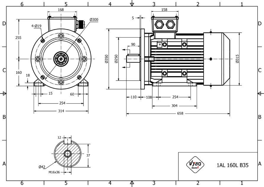 rozměrový výkres elektromotor 18,5kw 1AL160L-2