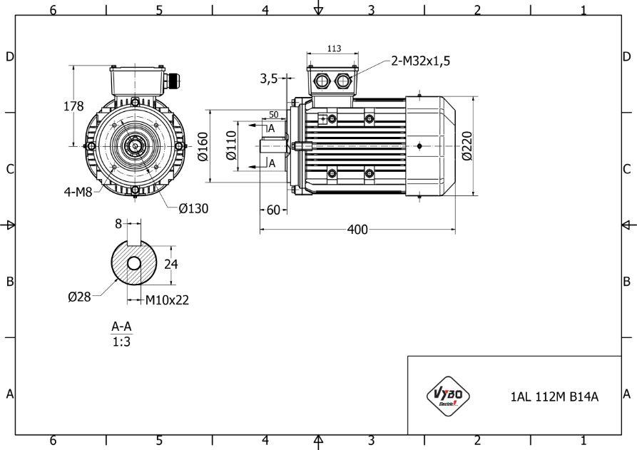 rozměrový výkres elektromotor 2,2kw 1AL112M-6