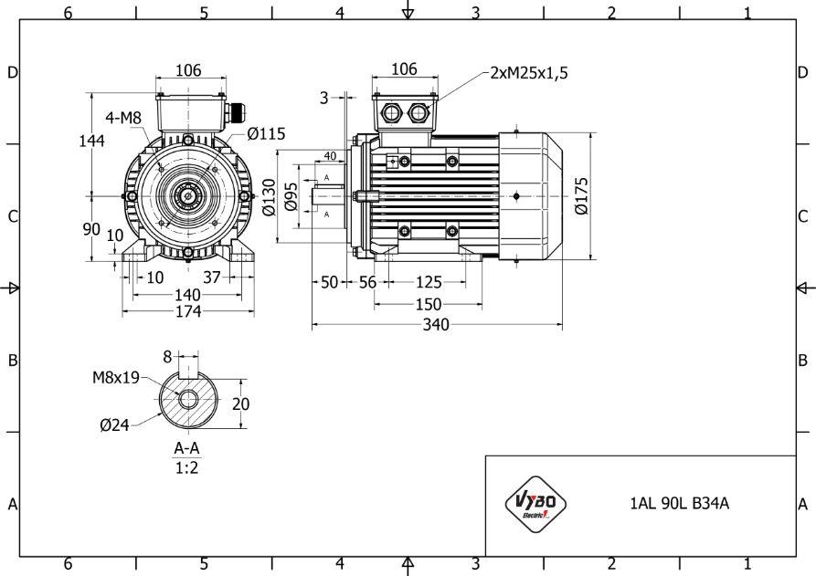 rozměrový výkres elektromotor 2,2kw 1AL90L-2