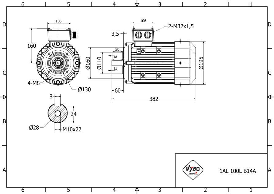 rozměrový výkres elektromotor 3kw 1AL100L-2