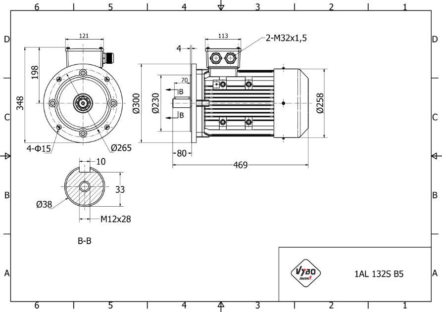 rozměrový výkres elektromotor 3kw 1AL132S-6