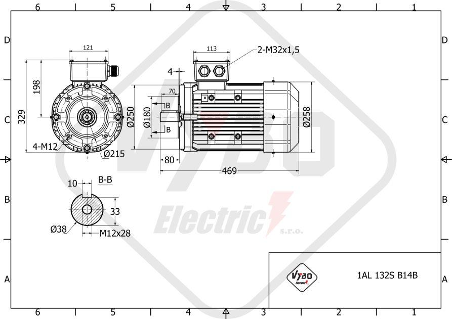 rozměrový výkres elektromotor 3kw 1AL132S-8