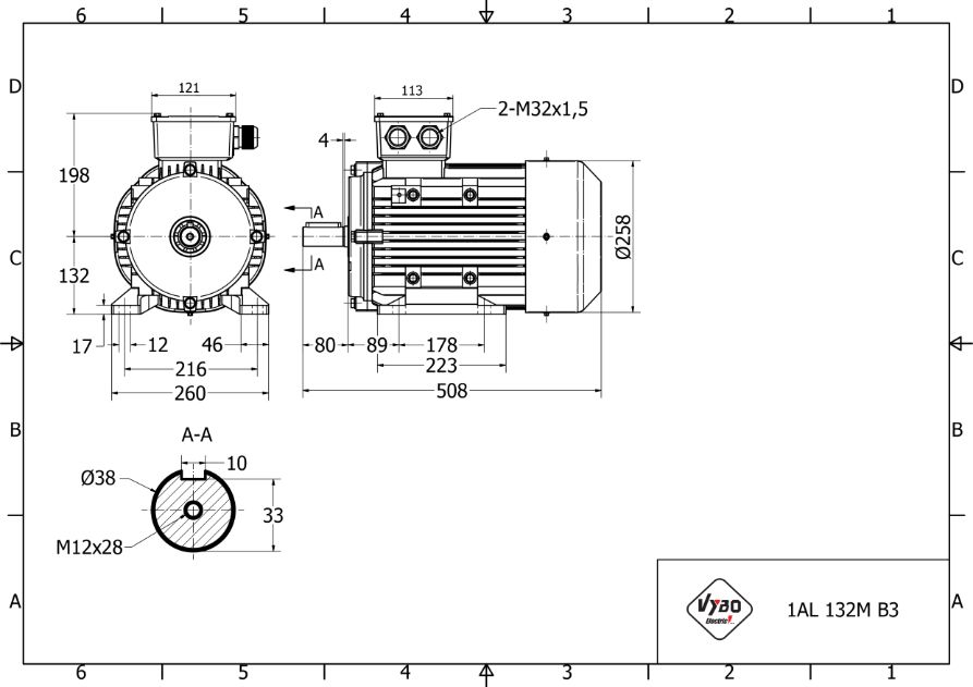 rozměrový výkres elektromotor 7,5kw 1AL132M-4