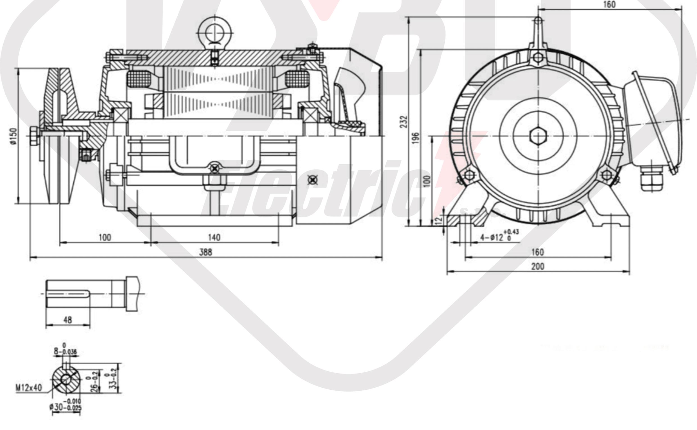 rozměrový výkres pílový elektromotor KRM 100L1-4