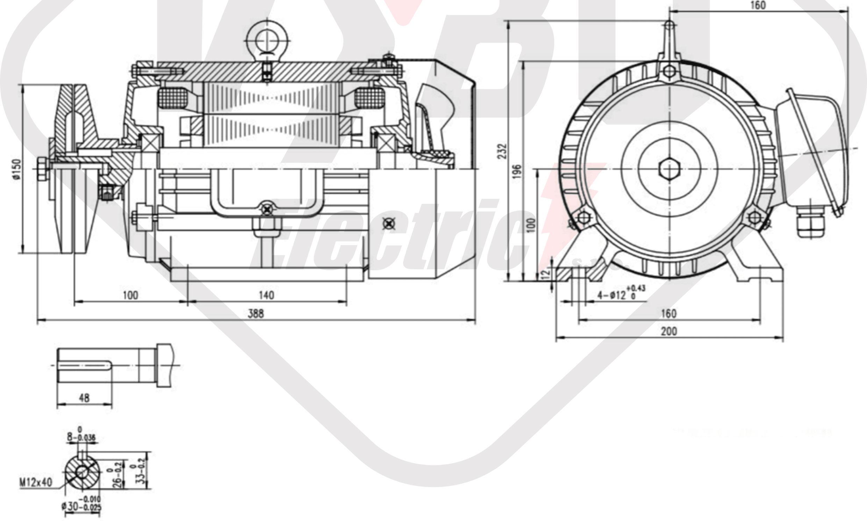 rozměrový výkres pílový elektromotor KRM 100L2-4