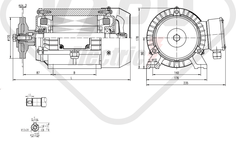 rozměrový výkres pílový elektromotor KRM 90LX-4