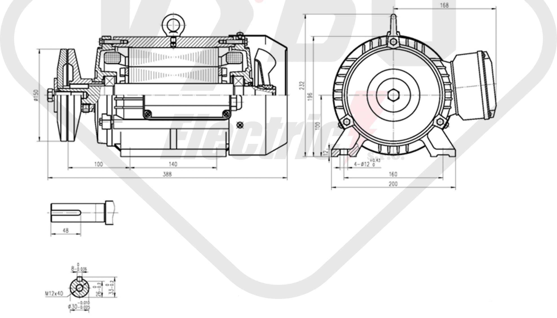 rozměrový výkres pílový elektromotor KRME 100LB-4