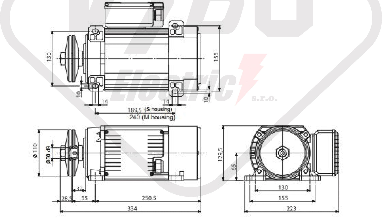 rozměrový výkres pílový elektromotor MR65 T1SA-2