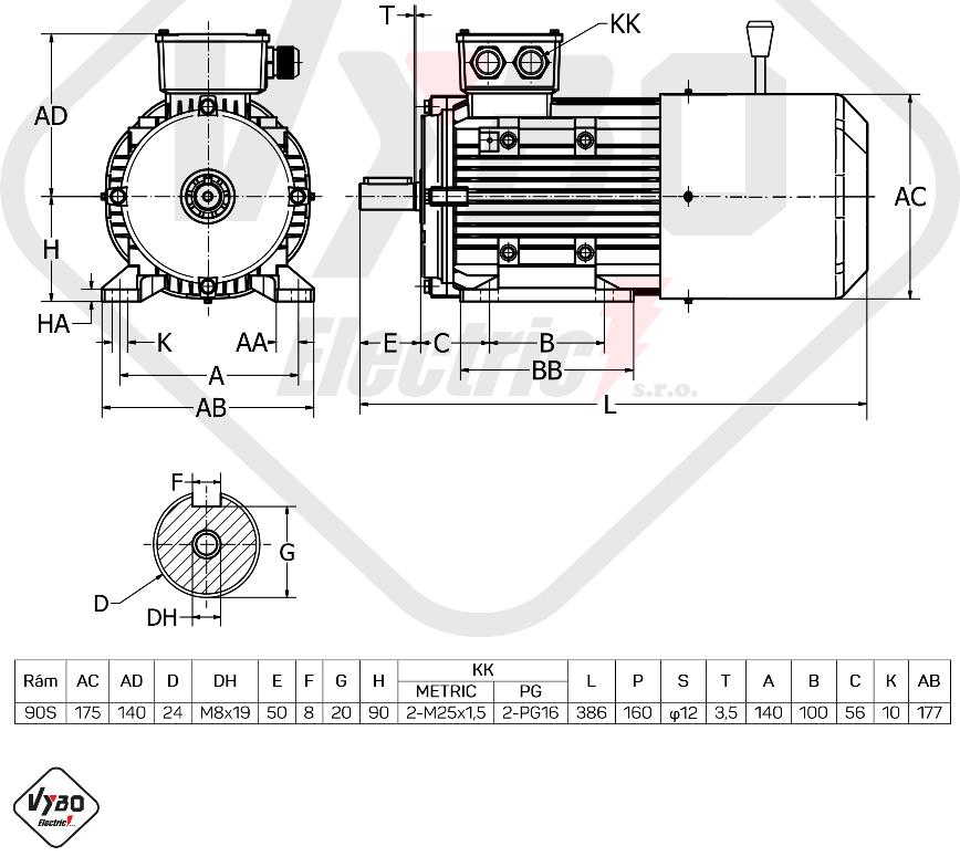 rozměrový výkres Elektromotor s brzdou 1,5kw 1ALBR90S-2