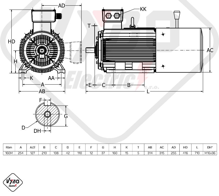 rozměrový výkres Elektromotor s brzdou 11kw 1ALBR160M1-2