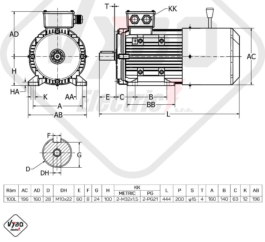 rozměrový výkres Elektromotor s brzdou 2,2kw 1ALBR100L1-4