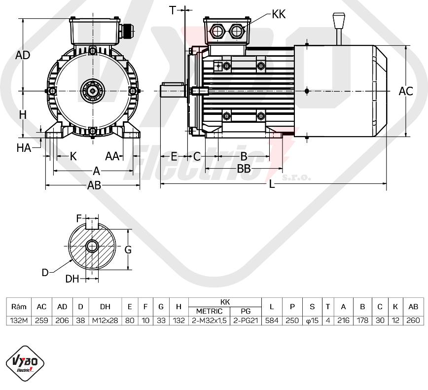 rozměrový výkres Elektromotor s brzdou 5,5kw 1ALBR132S-4