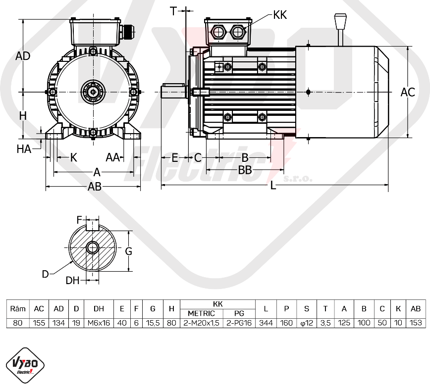 rozměrový výkres Elektromotor s brzdou 0,55kw 1ALBR801-4