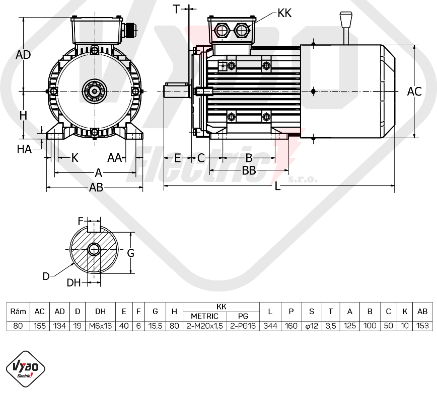 rozměrový výkres Elektromotor s brzdou 0,75kw 1ALBR802-4