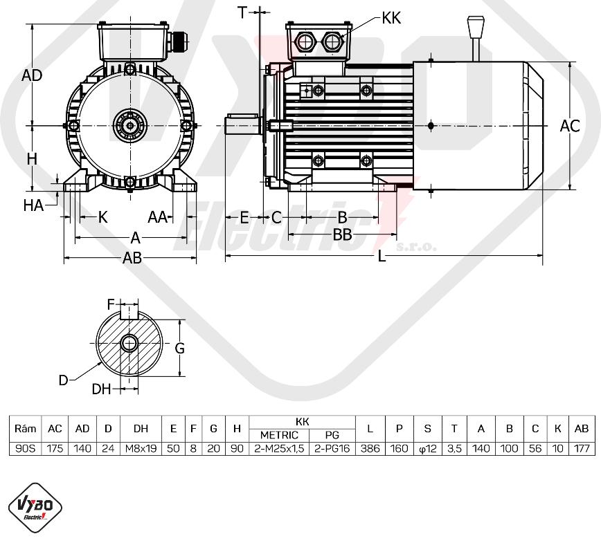 rozměrový výkres Elektromotor s brzdou 1,1kw 1ALBR90S-4