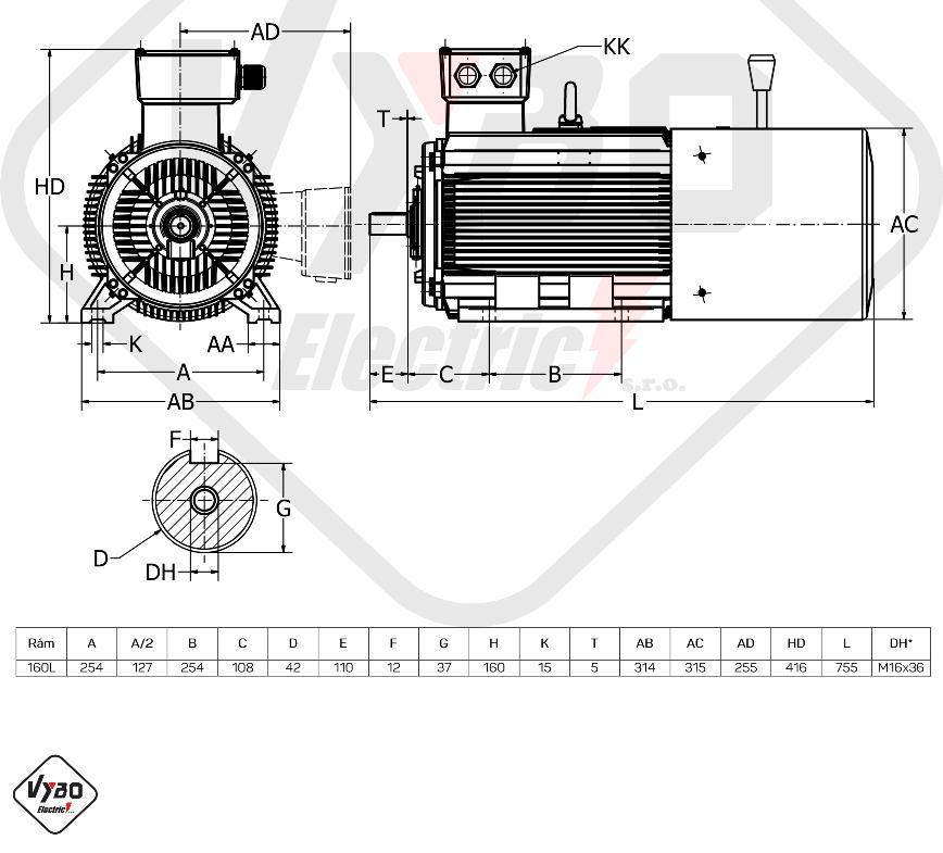 rozměrový výkres Elektromotor s brzdou 15kw 1LCBR160L-4