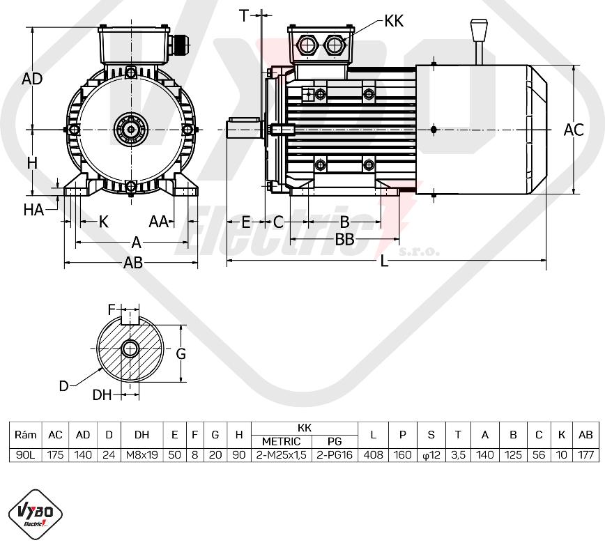 rozměrový výkres Elektromotor s brzdou 2,2kw 1ALBR90L-2
