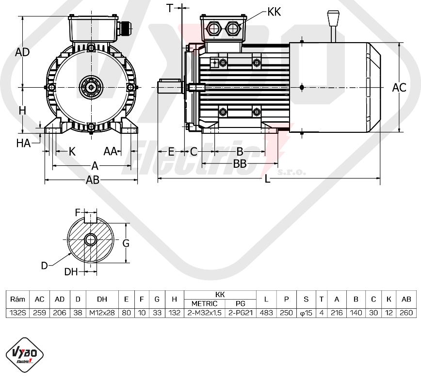 rozměrový výkres Elektromotor s brzdou 7,5kw 1ALBR132S2-2